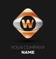 golden letter w logo in the golden-silver square vector image