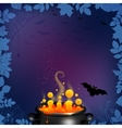 Halloween party flyer background in dark purple vector image
