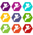 hand holding heart icon set color hexahedron vector image vector image