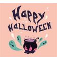 happy halloween text banner with ghost vector image vector image