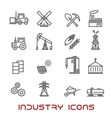 Industry and ecology thin line icons vector image