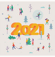 lovely new year 2021 greeting card poster vector image