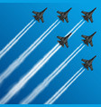 military fighter jets with condensation trails in vector image