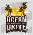 ocean drive miami beach florida summer design vector image