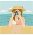 Photographer girl clicking on cameras button vector image