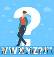question mark white letter with young people vector image vector image