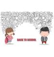 schoolgirl and schoolboy pupils back of school vector image vector image