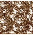 seamless brown floral pattern vector image vector image