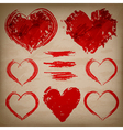 set hand drawn hearts on paper background vector image