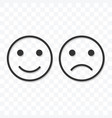 smiley happy and sad icon on transparent vector image vector image