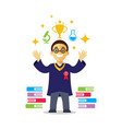 student with elements of education vector image