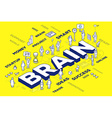 three dimensional business word brain wit vector image