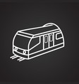 train thin line on black background vector image
