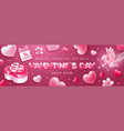 valentines day sale banner with cupid and hearts vector image vector image