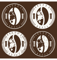 vintage labels set of coffee bean with profile of vector image vector image