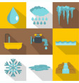 water icon set flat style vector image vector image