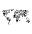 world map composition of football balls vector image