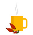 yellow mug with tea on white background vector image vector image