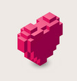 3d pixel heart icon vector image vector image