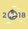 african businessman jump throw zero in number 2018 vector image vector image