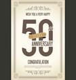 anniversary retro vintage background 50 years vector image vector image