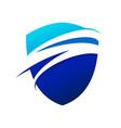 blue wave swoosh modern shield symbol logo design vector image vector image