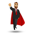 businessman superhero flyes a character on a vector image vector image