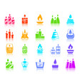 candle flame color silhouette icons set vector image vector image
