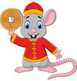 cartoon rat in chinese traditional costume holding vector image