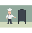 Chef with menu board flat graphic vector image