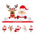 christmas set santa claus reindeer snowman vector image vector image