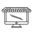 computer shopping online white background outline vector image