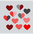 cute black and red decorative little heart set vector image vector image