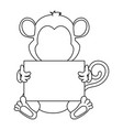 cute monkey with banner character icon vector image vector image
