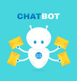 cute robot chat bot holds envelope vector image