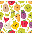 cute smiling vegetables seamless pattern vector image vector image