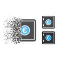 dissolving pixelated halftone euro safe icon vector image
