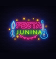 festa junina greeting card design template neon vector image