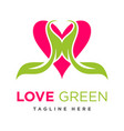 green leaf love logo vector image vector image