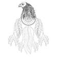 hand drawn entangle dreamcatcher with eagle head vector image