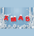 hanging word xmas in forest with snowing vector image