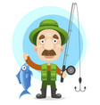 happy fisherman character hold big fish vector image vector image