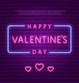 happy valentines day neon glowing text vector image