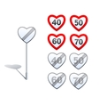 Heart shape road signs - limits and vector image vector image