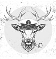 hipster animal deer in captains cap vector image vector image