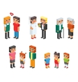 Isometric family couples children kids people vector image vector image