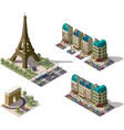 isometric Paris architecture elements vector image vector image
