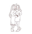 lgbt lesbian family concept kiss and hug sticker vector image vector image