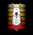 llama wear bandana retro vector image