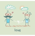 loving girl and the guy holding the thread vector image vector image